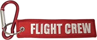 Pasdec 1pc Tag Keychain Stitching Design Flight Crew Keychain Accessories Gifts + Red Color Light Aluminum D Shape Carabin...