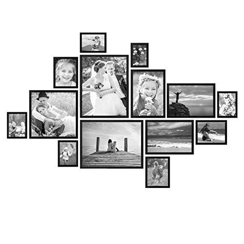 PHOTOLINI 14er Bilderrahmen-Set Modern Schwarz aus MDF 10x15 bis 30x40 cm/Bildergalerie/Bilderwand