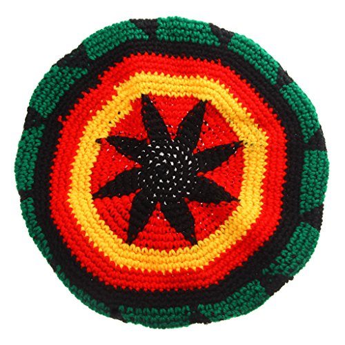 Hellery Multicolor Acryl Jamaica Rasta Dreadlock Wurzeln Tam Hut Rasta Beanie Cap A - Mehrfarbig, 50cm