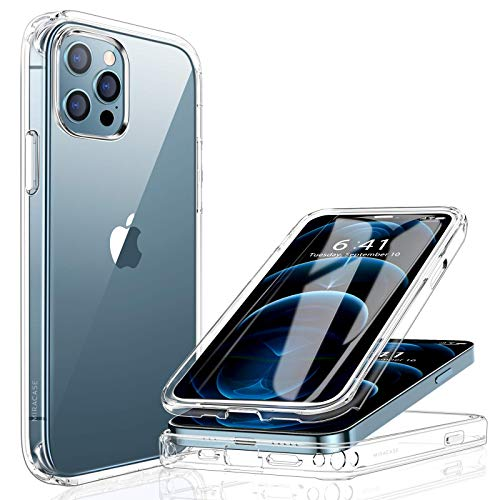 Miracase 360 Grad Hülle Kompatibel mit iPhone 12/12 Pro (6.1 Zoll), Ganzkörper Schutzhülle mit eingebauter Glas Displayschutzfolie, Stoßfeste Fullbody Handyhülle, Transparent