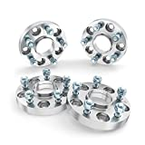 RockTrix - 1.25 inch Hubcentric Wheel Adapters (Changes Bolt Pattern) Converts 5x4.5 to 5x5 (71.5mm Bore, 1/2x20 Studs) Works with Jeep Cherokee Grand Cherokee Wrangler Liberty - Silver Spacers 4pcs