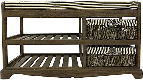 MKHB Zapatero para Banco, 2 cajones, 2 estantes, Madera marrón, Estilo rústico, Estilo rústico, Dormitorio, salón - 45 5 x 80 x 35 cm (Al x An x Pr)
