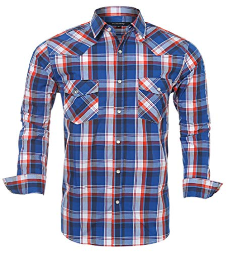 Western Shirts for Men with Snap Buttons Regular Fit Plaid Mens Long Sleeve Shirts Casual,Red Blue 011, X-Large