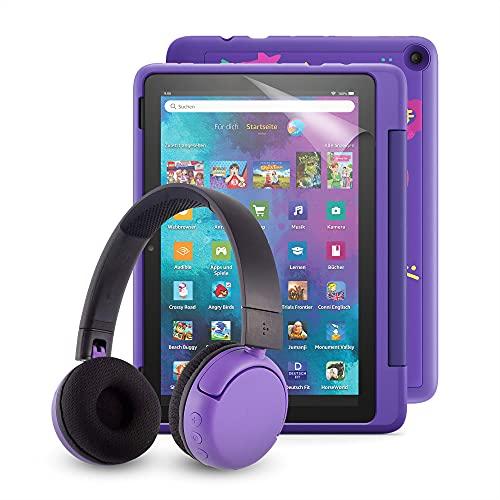 "Fire HD 10 Kids Pro-Tablet (kindgerechte Hülle mit ""Graffiti-Design""-Design) + BuddyPhones PopTime-Bluetooth-Headset (violett, Altersklasse: 8-15 Jahre) + NuPro-Bildschirmschutzfolie (2er-Pack)"
