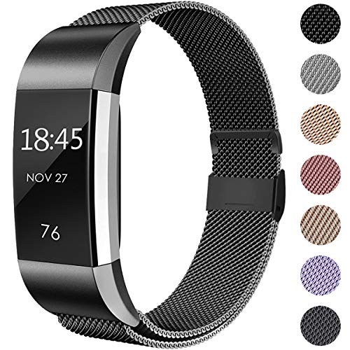 Hamily Kompatibel für Fitbit Charge 2 Armband, Metall Armband, Edelstahl Sport Ersatzarmband für Fitbit Charge 2 Fitness Tracker, Groß Schwarz