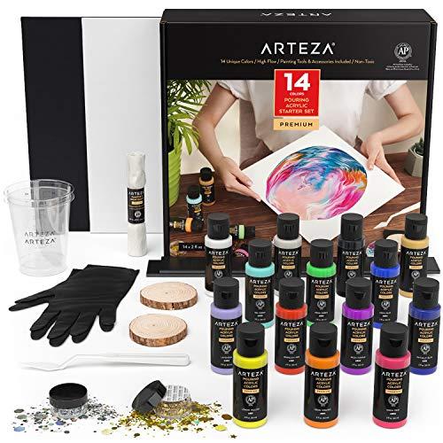Arteza Acryl Pouring Set inkl. 14 Pouring Acrylfarben, 2 Holzscheiben, 2 Messbecher, Gold & Silber Holograhic Glitzer, Leinwände, Handschuhe, Malmesser, Künstlerbedarf für Pouring Technik