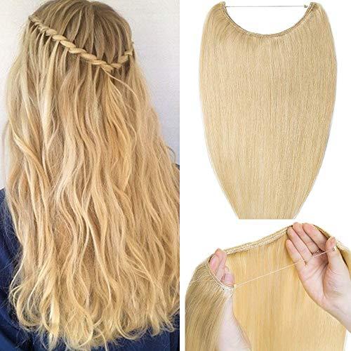 Elailite Extension Capelli Veri Biondi con Filo Invisibile 60g - 100% Remy Human Hair Lisci Capelli Naturali Umani Senza Clip Fascia Unica 40cm #613 Biondo Chiarissimo