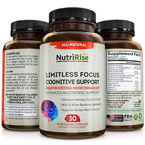 Price comparison product image Limitless Focus Nootropic Supplement + Vitamin B-3 B-12,  Ginkgo Biloba,  Rhodiola Rosea,  DMAE,  Alpha GPC,  Bacopa Monnieri - Energy,  Memory & Brain Wellness Booster Complex Stress & Anxiety Relief Pills