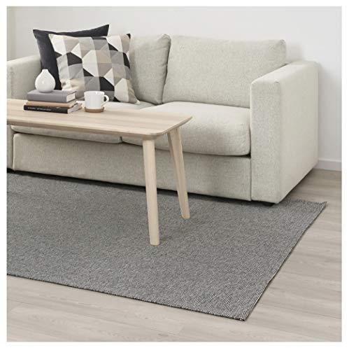 Lidoma Teppich Flach gewebt, Kurzflor, Baumwolle, 100% Recycelt, IKEA Tiphede, Waschmaschinen waschbar, grau, weiß, 155 x 220 cm