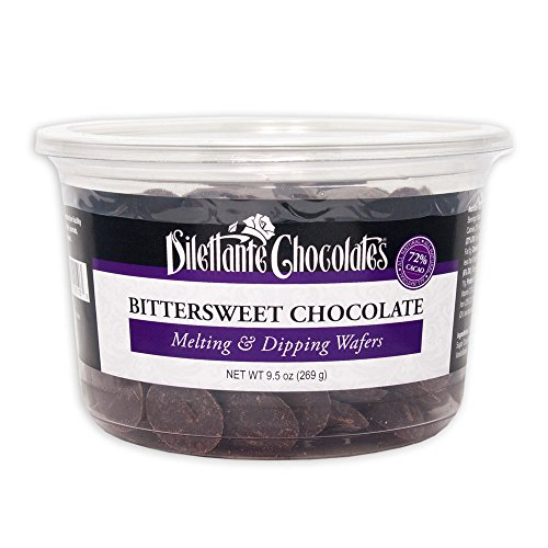 Bittersweet Chocolate Melting & Dipping Wafers, 72% Cacao - 9.5 oz Tub - by Dilettante (2 Pack)