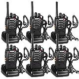 Walkie Talkie Recargable Bidireccional Transmisores-receptores Radio 5W 16 Canales 1500mah CTCSS DCS, con el Auricular Incorporado Antorcha de LED (6PCS)