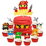 49Pcs Ninja Cake Toppers, Ninja Themed Party Cake Decorations, Happy Birthday Felt Cake Topper and Cardstock Ninja Cupcake Toppers, Kids Birthday Cake Decoration Baby Shower Party Supplies