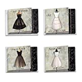 The Best Card Company, Dress Forms - 12 Blank Assorted Note Cards (4 x 5.12 Inch) - Vintage, Retro Dress Art (4 Designs, 3 Each) MQ4608OCB-B3x4
