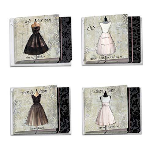 The Best Card Company, Dress Forms - 12 Blank Assorted Note Cards (4 x 5.12 Inch) - Vintage, Retro Dress Art (4 Designs, 3 Each) MQ4608OCB-B3x4