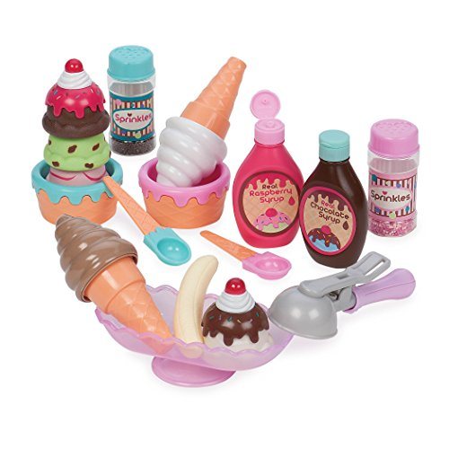 Play Circle by Battat - Sweet Treats Ice Cream Parlour Playset - Sprinkles, Cones, Spoons, Cups - Pretend Play Food Decorating Kit - Toy Frozen Dessert and Accessories for Kids 3 and Up (21 pieces)