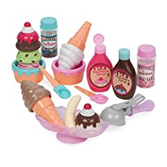 Ice cream set with colorful flavors and accessories sized perfectly for small hands and bigger imaginations. Stack the ice cream scoops in the bowls or cones with the easy-to-grab scooper, and top off your dessert with a yummy banana! The ice cream s...