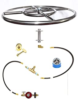FR18ITCK+ 18in Fire Ring In-Table DIY (Do It Yourself) Propane DELUXE Fire Pit Kits to Make Wine Barrel / Fire Table Fire Pit Kits Marine Grade 316 Stainless Burners (not lessor 304) (FR18)