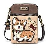 Chala Crossbody Cell Phone Purse - Women PU Leather Multicolor Handbag with Adjustable Strap - Corgi - Ivory