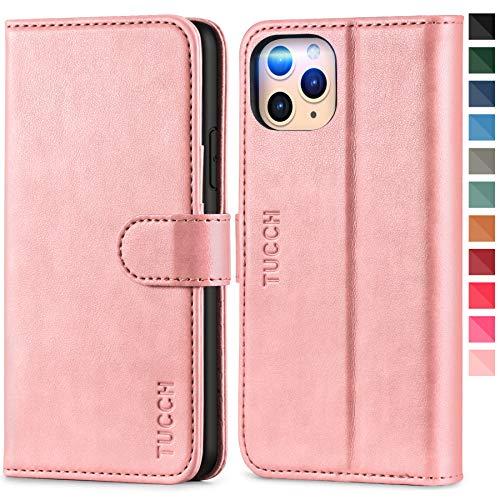 TUCCH iPhone 11 Pro Max Hülle, iPhone 11 Pro Max Lederhülle, TPU Handyhülle [RFID Blocker] [Aufstellfunktion] [Kartenfach] [Magnetverschluss], Stoßfeste Etui für iPhone 11 Pro Max (6,5 Zoll) Rosagold