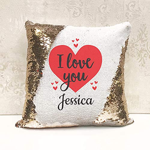 Genie Wholesale Luxury Personalised Reversible Sequin Cushion 'I Love You' Gift Add any name for the perfect personalised present(Cover Only)