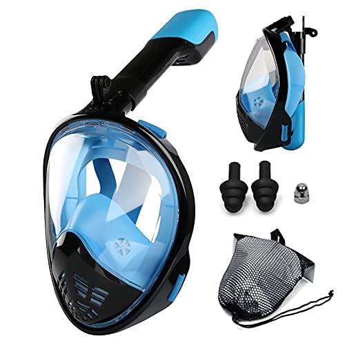 AWJ Máscara de esnórquel Plegable 180 Vista panorámica con respiración Libre Máscara de esnórquel de Cara Completa con Soporte de cámara Desmontable, Parte Superior Seca, antivaho, antifuga