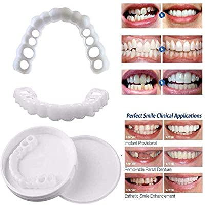 Ulat 4PCS Cosmetic Teeth, Snap on Smile - Instant Perfect Smile Clip on Veneers (Work for Top Or Bottom) - Perfect Braces to Make White Tooth Beautiful Neat