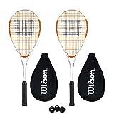 Wilson Impact Pro 500 - Racchetta da squash con copertura + 3 palline da squash, .
