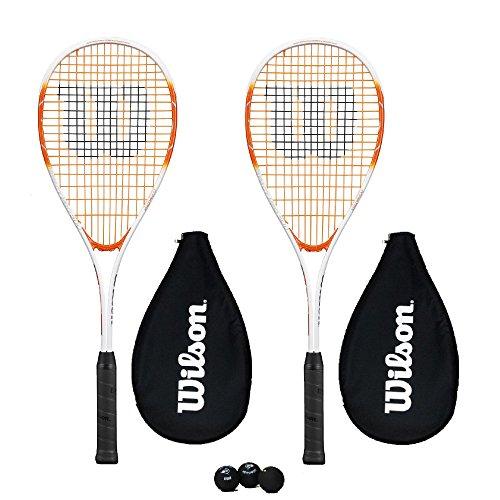 Wilson Impact Pro 500 Raquette de squash avec housse + 3 balles de squash (2 raquettes + 3 balles de squash)