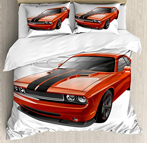 Lunarable Nursery Duvet Cover Set, Modern Muscle Car Exotic Sports Hobby Activity Leisure Concept Design, Decorative 3 Piece Bedding Set with 2 Pillow Shams, Queen Size, Charcoal Orange