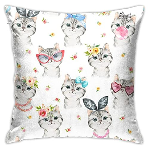 87569dwdsdwd Kitty Chic (White) Larger Scalegingerlous Throw Pillow Cover Pillow Cases For Home Decor Design Cushion Case For Sofa Bedroom Car 18 X 18 Inch 45 X 45 Cm