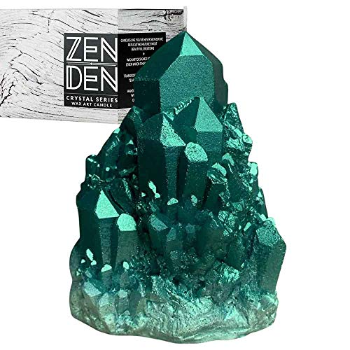 Zen Den Candles - Abundance Quartz - Crystal Shaped (Wax) Unscented Candle - Handcrafted for Home Décor & Positive Energy (Emerald/Green)