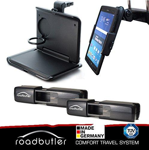 Reise Spar Set von RoadButler - Klapptisch und Tablet Halterung inklusive Basishalter Flex für KFZ Kopfstützen - Auto-Zubehör-Teile - TÜV geprüfte Qualität, Made in Germany
