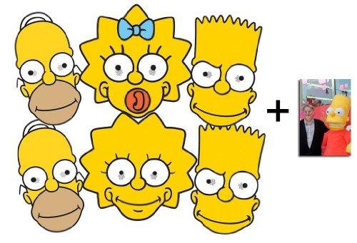 BundleZ-4-FanZ Fan Packs Die Simpsons Karte / Pappe Partei Maske Packung von 6 (Homer x2 , Bart x 2, Maggie und Lisa) - Enthält 6X4 (15X10Cm) starfoto