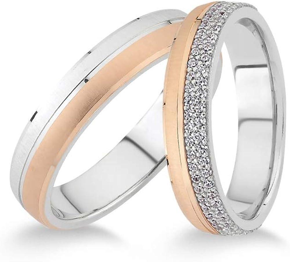 Anelise 14K Real Solid White Rose Fine Gold 1516 Wedding Band Rings Set For Women and Men 2 gr + 2.3 gr 4.5 mm Dainty Rings