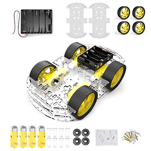 diymore 4 Wheel Robot Chassis Smart Car with Speed and Tacho Encoder with Battery Box for Arduino Raspberry Pi Robot DIY Kits