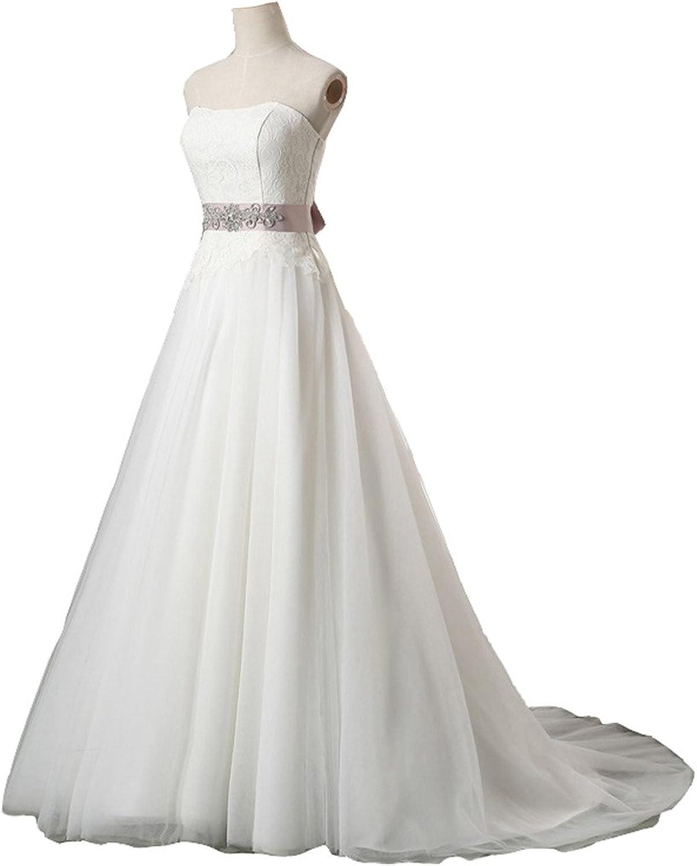 Snowskite Womens Aline Strapless Sweetheart Lace Tulle Wedding Bridal Dress