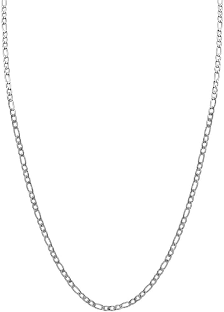 Edforce Stainless Steel Women's 3 mm Figaro Link Chain Necklace, 24