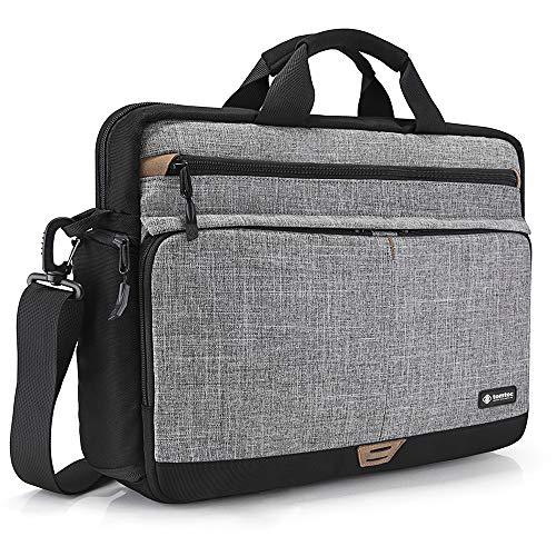tomtoc Laptop Umhängetasche Schultertasche kompatibel mit HP 15/15,6 Zoll Lenovo ThinkPad E575 / IdeaPad S510, Notebook Tasche Chromebook Tragetasche Computer Schutzhülle, Grau