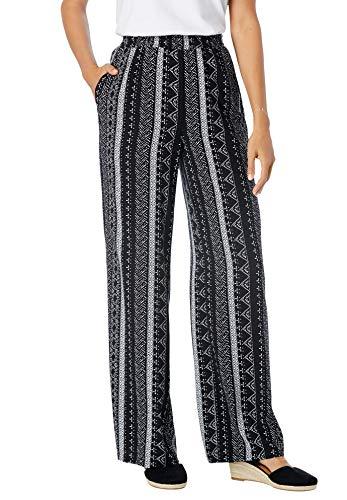 Woman Within Women's Plus Size Pull-On Elastic Waist Soft Pants - 24 W, Black Batik Stripe