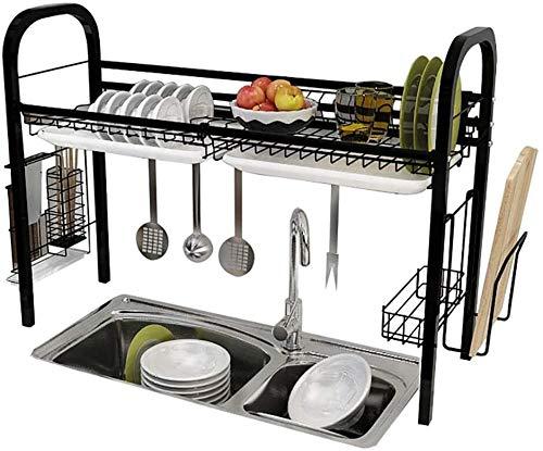 DJSMsnj Estante de almacenamiento de cocina, escurridor de acero inoxidable negro, organizador de vajilla con soporte para utensilios (tamaño: 84 x 28 x 64 cm)