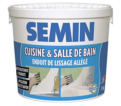 Semin A04733 Enduit de Lissage Cuisine et Salle de Bain, Adapté aux Pièces Humides, Vert, Seau de 1 kg