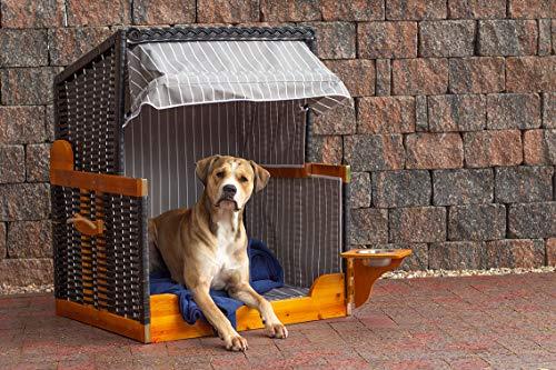 Mr. Deko Hundestrandkorb PE schwarz Dessin grau gestreift ohne Schutzhülle für Garten, Terrassen, Wohnzimmer, Strandkörbe, Hundekorb, Körbchen, Strandkorb, Hund, Katze, Hundebett, Napf, Hundehütte - 5