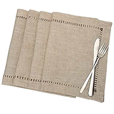 Handmade Hemstitched Table Placemats, Rectangle 12x18 Inch Set Of 4, Natural Color
