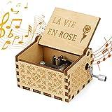 LINGSFIRE Carillon in Legno, La Vita in Rosa Music Box, Carillon a Manovella in Legno Antico Scatola Musicale Music Box Decorazione Domestica Regalo per Compleanno Natale
