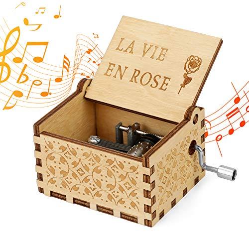 LINGSFIRE Caja de música de madera con manivela, caja de música clásica de madera vintage grabada hecha a mano, el mejor regalo para los niños, el día de San Valentín, cumpleaños, decoración del hogar