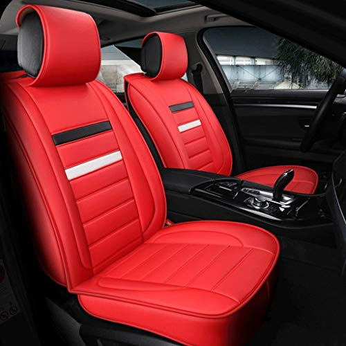 Housse de Sieges Auto Car Seat Covers, 5 Seat ensemble complet universel compatible Airbags frontaux arrière Respirant Confort Protecteur en cuir Coussin imperméable (Color : Red)