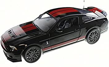 Shelby Collectibles SC399 2013 Ford Shelby Mustang Cobra GT500 SVT Black with Red Stripes 1/18 Diecast Model Car