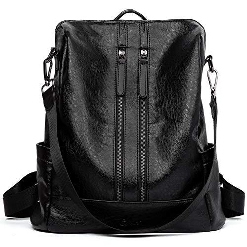 CLUCI Damen Rucksack Mode Leder Schultertasche Elegant Große Reiserucksack Leichter Tasche für Frauen 2 in 1 Schwarz