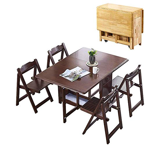 N/Z Daily Equipment 1.45M 4 Chairs Dining Table Set Folding Drop Leaf Butterfly Solid Wooden Kitchen Furniture Natural Pine (Color : Black+White)
