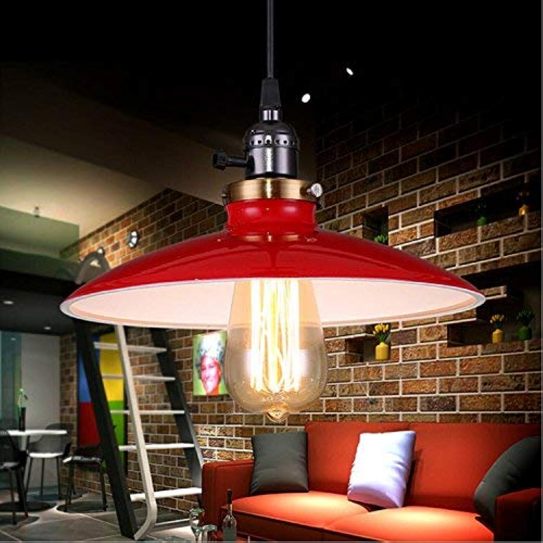 FuweiEncore Vintage Landschaft Metall rot hngende Deckenleuchte Schatten Restaurant Retro Pendelleuchte Edison E27 Basis (Farbe   Rot, Gre   -)